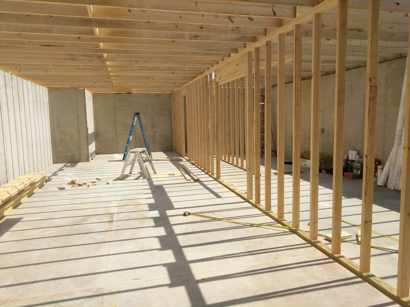 Framed basement walls in a new house.